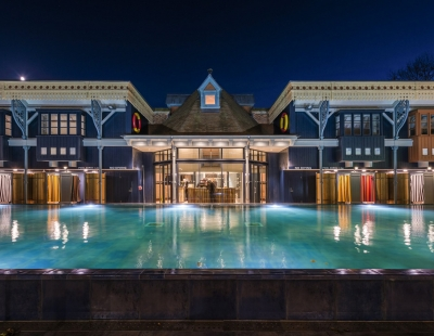 The Lido pool at night time